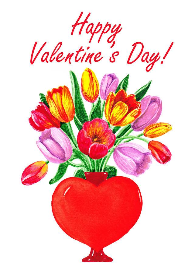 Tulips Painting - Heart Full Of Tulips Valentine Bouquet  by Irina Sztukowski