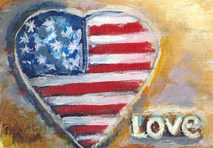 Heart Painting - Heart Love Usa by Bernadette Krupa