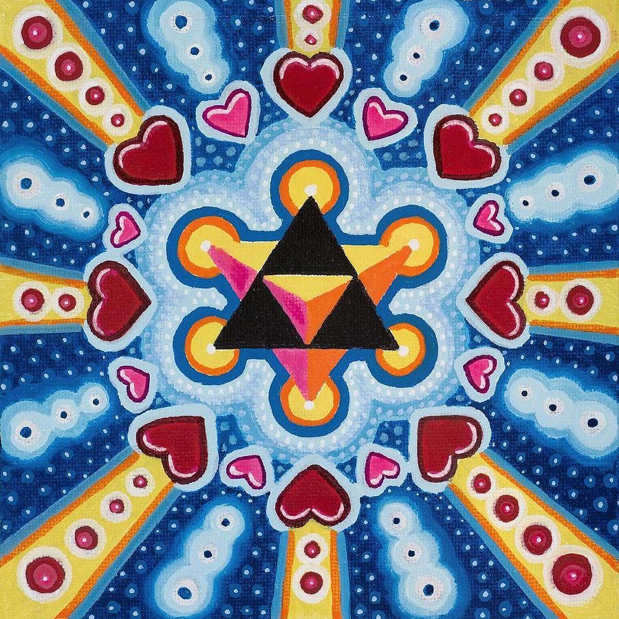 Sacred Geometry Paintings Painting - Heart Merkaba by Christopher Sheehan
