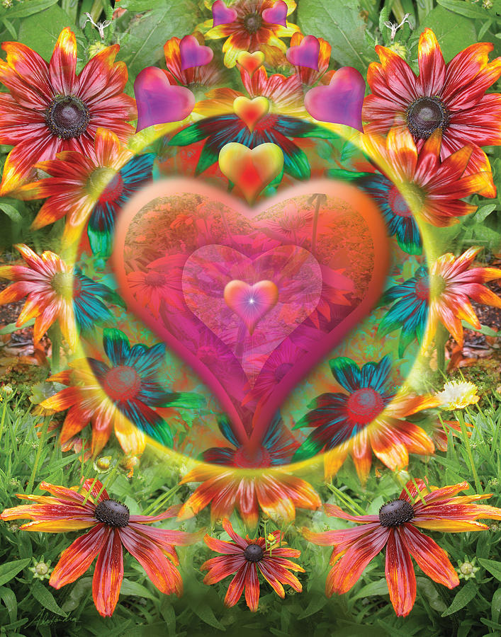 Abstract Photograph - Heart Of Flowers by Alixandra Mullins