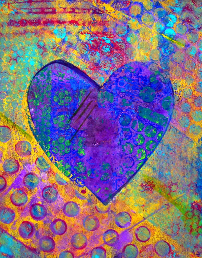 Abstract Paintings Painting - Heart Of Hearts Series - Compassion by Moon Stumpp