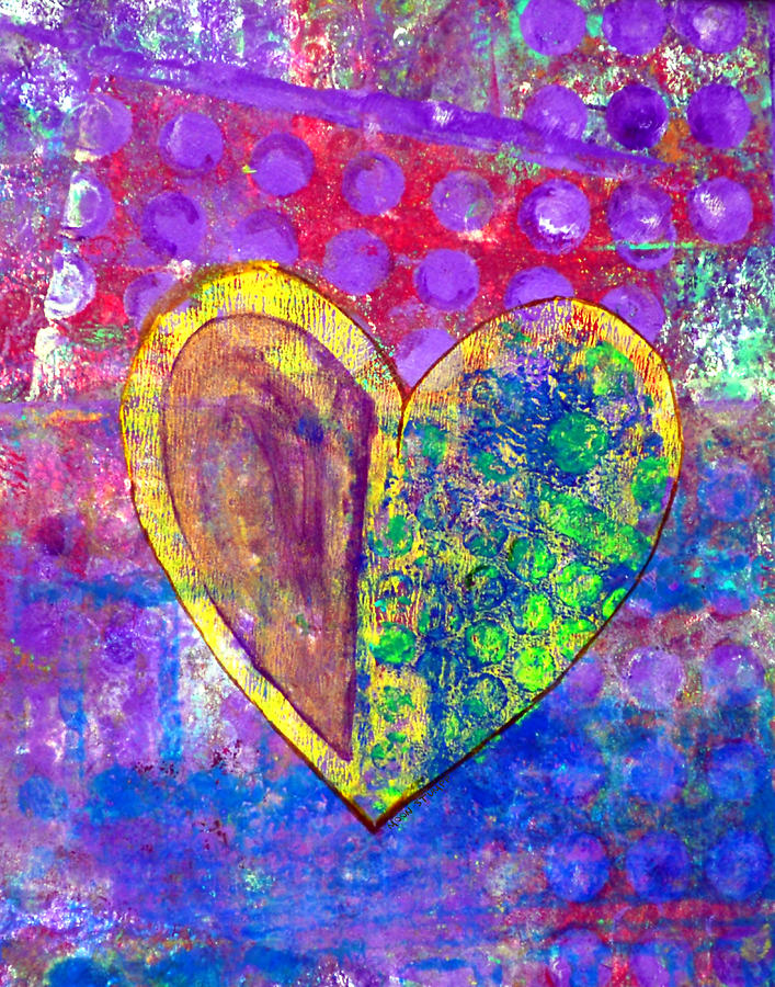Abstract Paintings Painting - Heart Of Hearts Series - Discovery by Moon Stumpp
