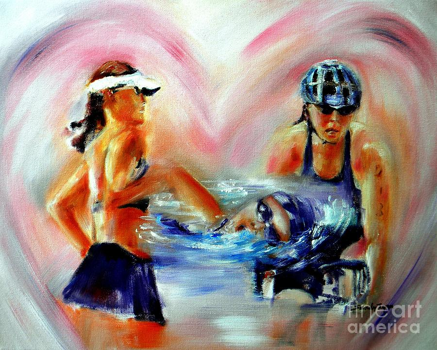 Bicyclist Painting - Heart Of The Triathlete by Sandy Ryan