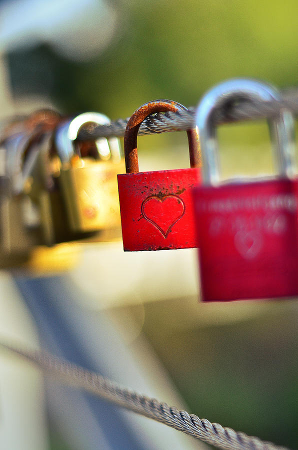 Gold Photograph - Heart On The Padlock by Gynt