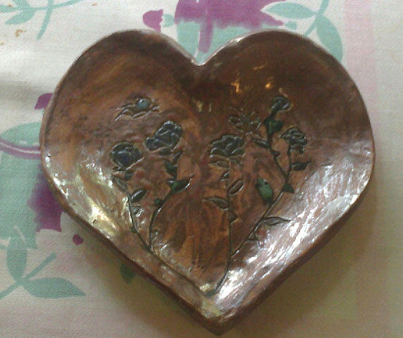 Ceramic Ornament Dish Ceramic Art - Heart Rose Plate by Lyras Prism