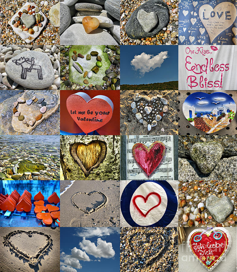 Collage Photograph - Heart Shape Collage  by Daliana Pacuraru