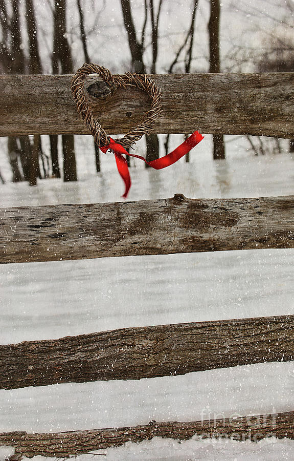 Atmospheric Photograph - Heart-shape Wreath With Red Ribbon On Fence by Sandra Cunningham