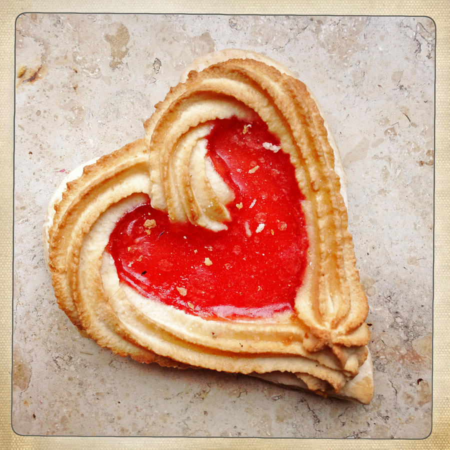 Heart Photograph - Heart shaped cookie square format by Matthias Hauser