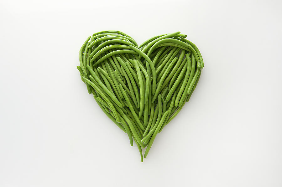 Heart-shaped Formed By Fresh Green Beans Photograph by Patrizia Savarese