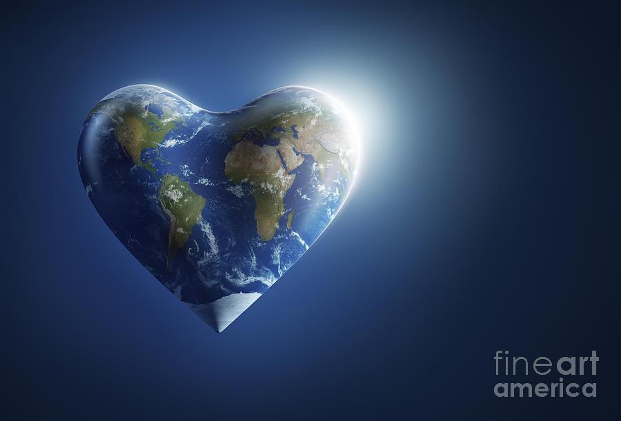 Heart Shaped Planet Earth On A Dark Digital Art By Evgeny
