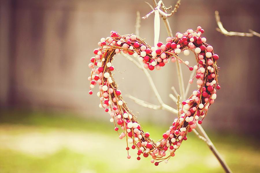 Heart Wreath Hanging On Tree Photograph by Julia Goss