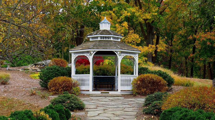 Park Photograph - Hearthstone Castle Park Gazebo by Stephen Melcher
