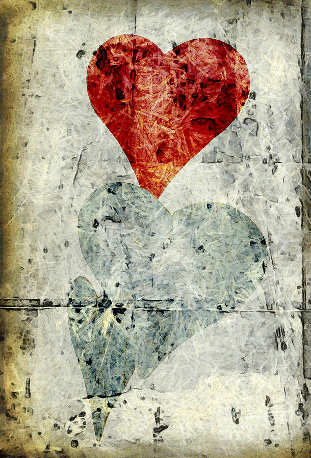 Abstract Digital Art - Hearts 1 by Edward Fielding