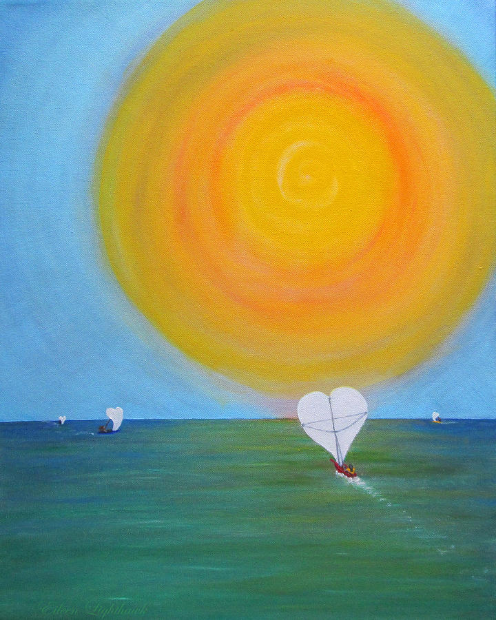 Painting Painting - Hearts A-sail On A Hopeful Sea by Eileen Lighthawk