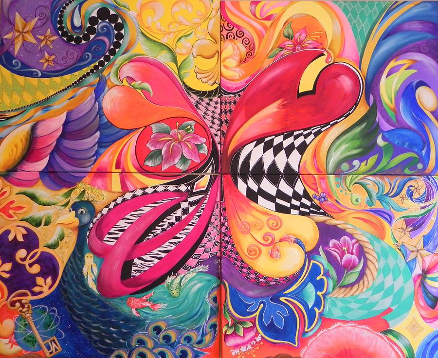 Heart Painting - Hearts Abound by Jill Alexander