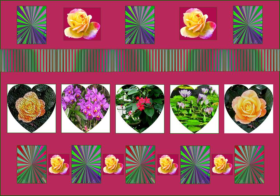 Computer Graphics Photograph - Hearts And Flowers 2 by Marian Bell