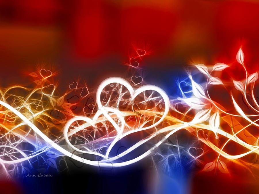 Hearts Digital Art - Hearts by Ann Croon