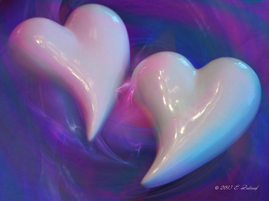 Vortex Digital Art - Hearts In A Vortex by Elizabeth S Zulauf