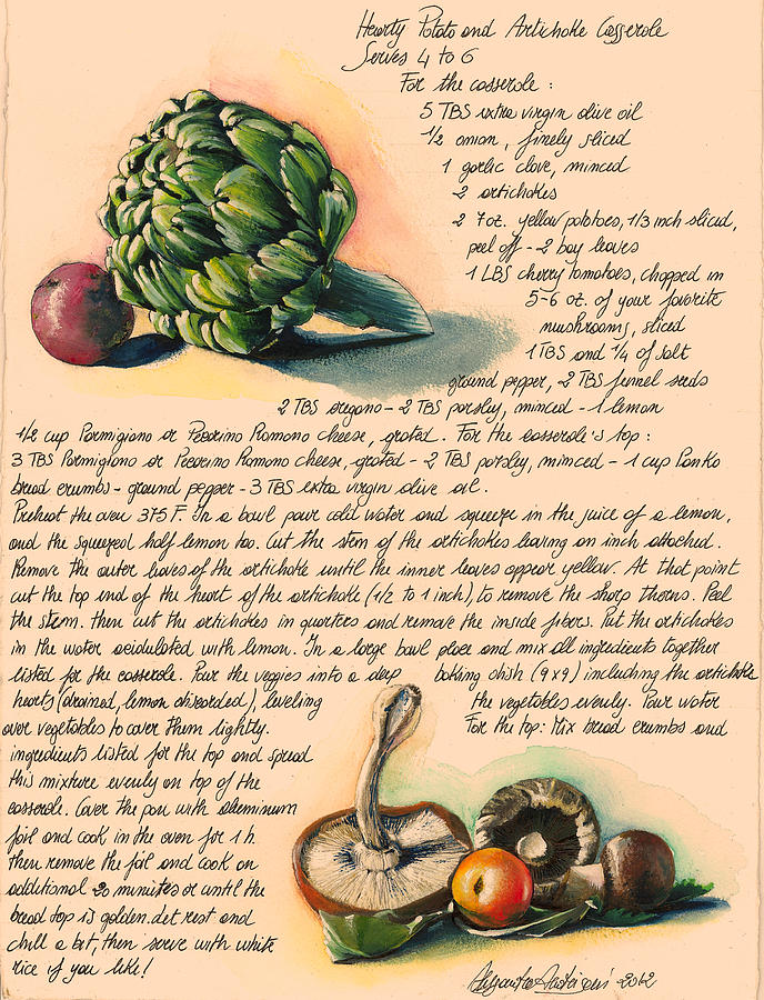Green Painting - Hearty Casserole by Alessandra Andrisani