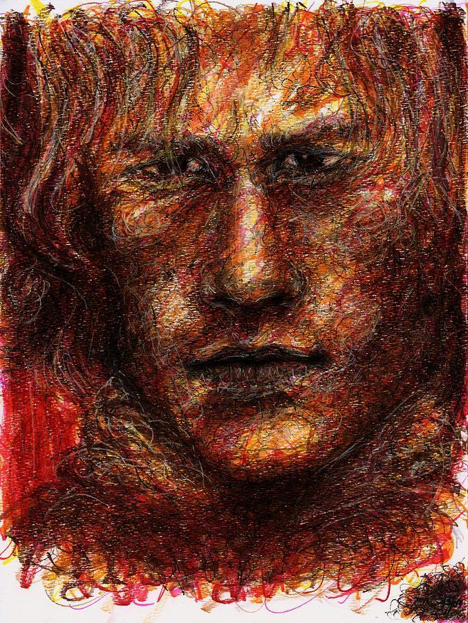 Heath Ledger Drawing - Heath Ledger - Red by Rachel Scott