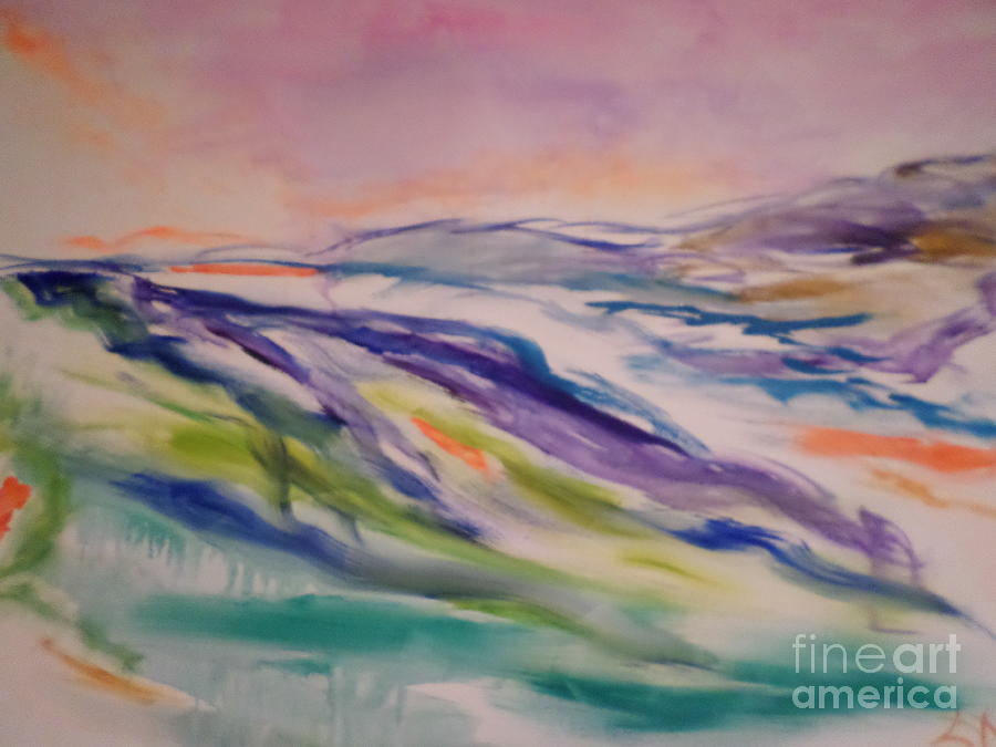 Abstract Landscape Painting - heathcliff II by Sharon Worley