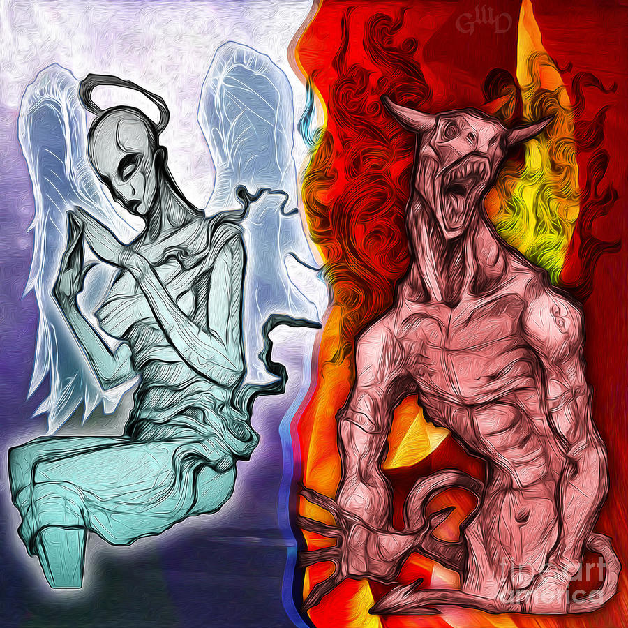 Heaven Painting - Heaven And Hell - New School Tattoo Art by Gregory Dyer
