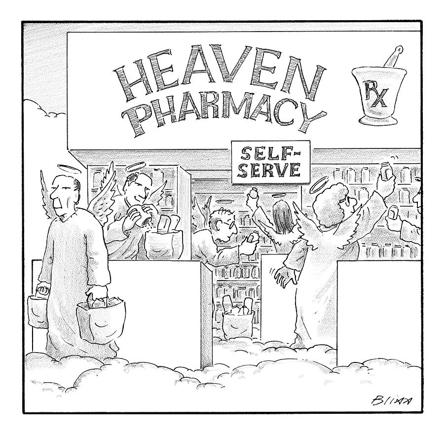 Heaven Pharmacy Features Angels Loading Drawing by Harry Bliss