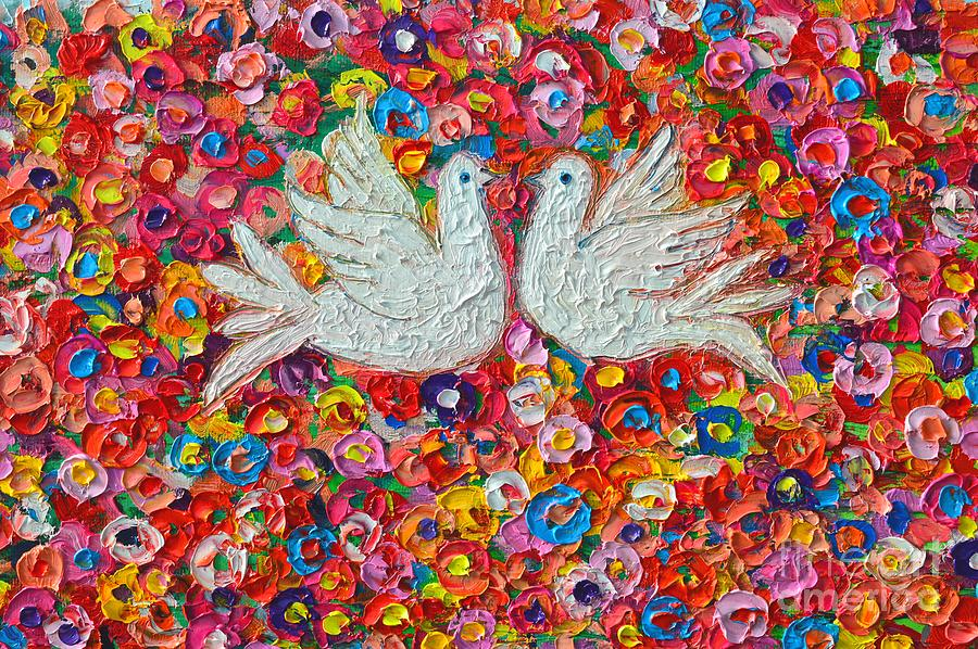 Dove Painting - Heavenly Love - Gentle White Doves by Ana Maria Edulescu