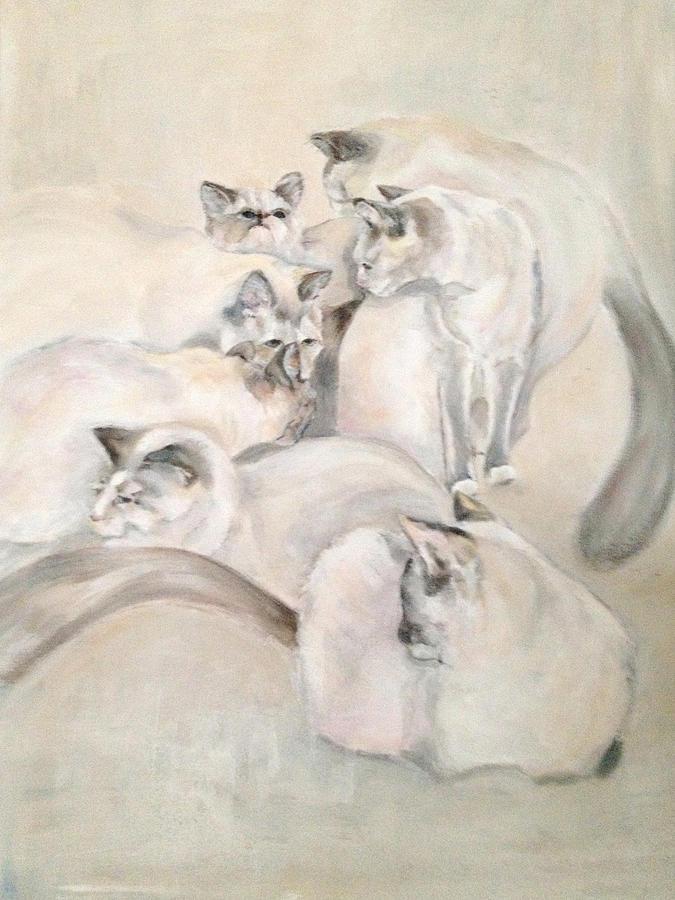 Kitten Painting - Heavenly Puffs by Janet Felts