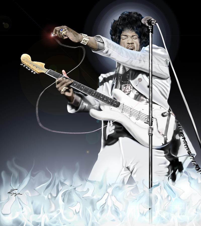 Jimi Hendrix Painting - Heavens Fire - The Jimi Hendrix Series  by Reggie Duffie
