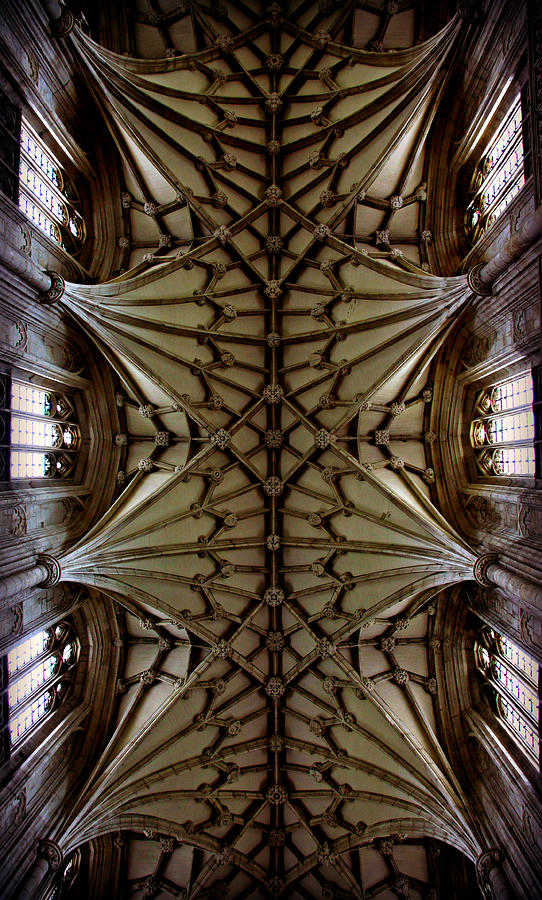 Winchester Cathedral Photograph - Heavenward -- Winchester Cathedral Ceiling by Stephen Stookey