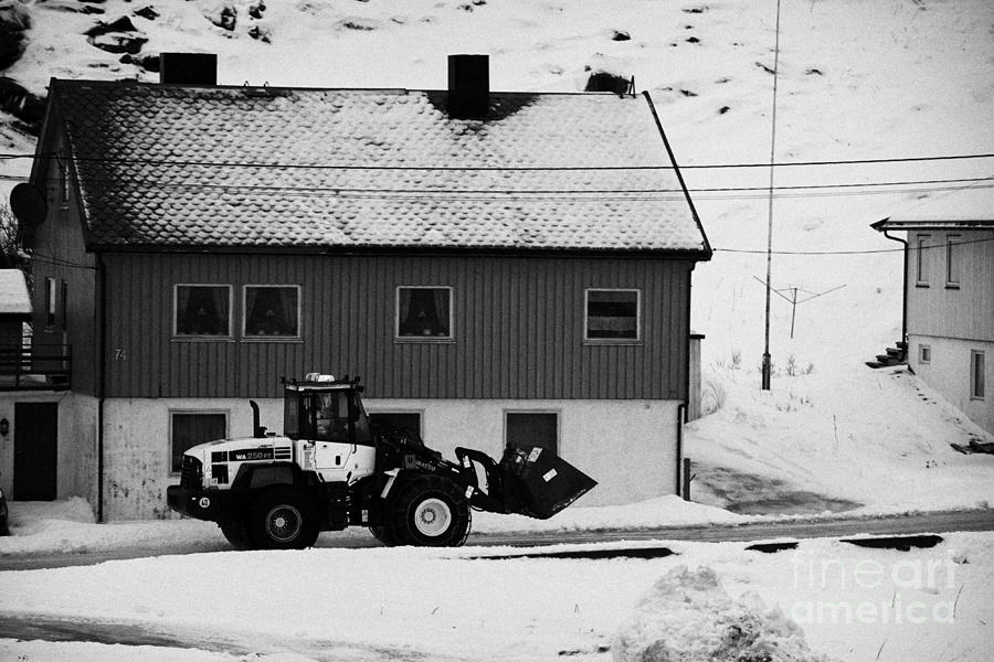 Heavy Photograph - Heavy Duty Loader Carrying Grit And Stones For Winter Road Preparation Havoysund Finnmark Norway  by Joe Fox