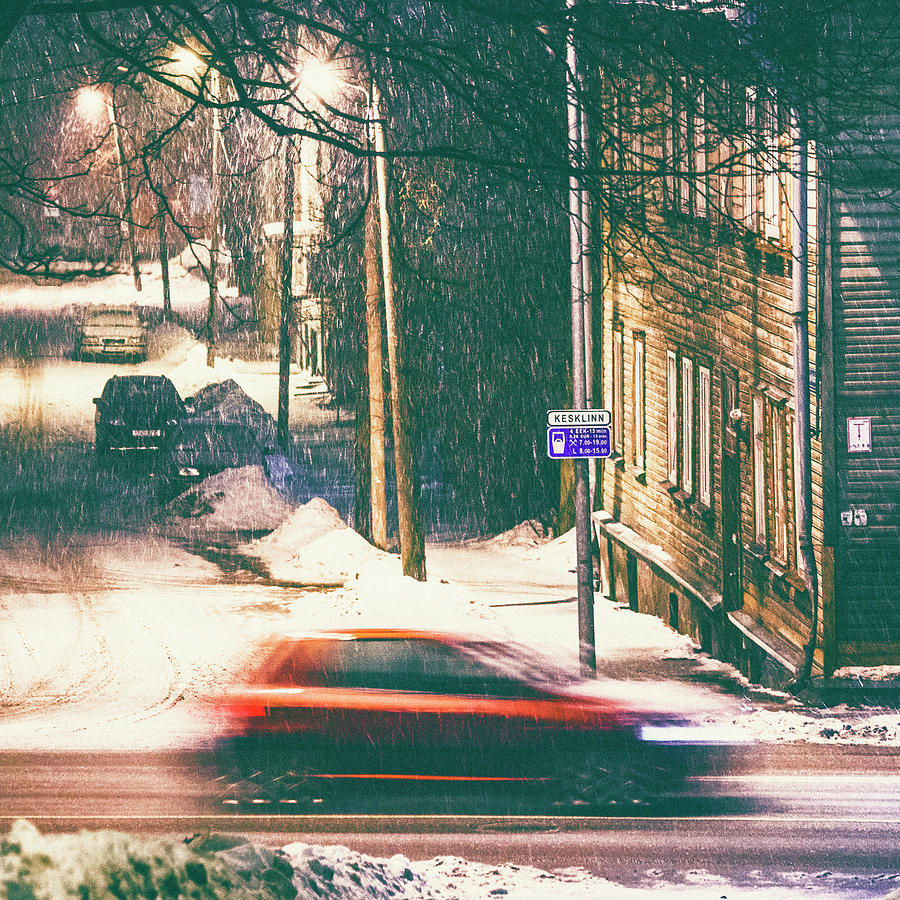 Heavy Snowfall In Town Photograph by Peeterv