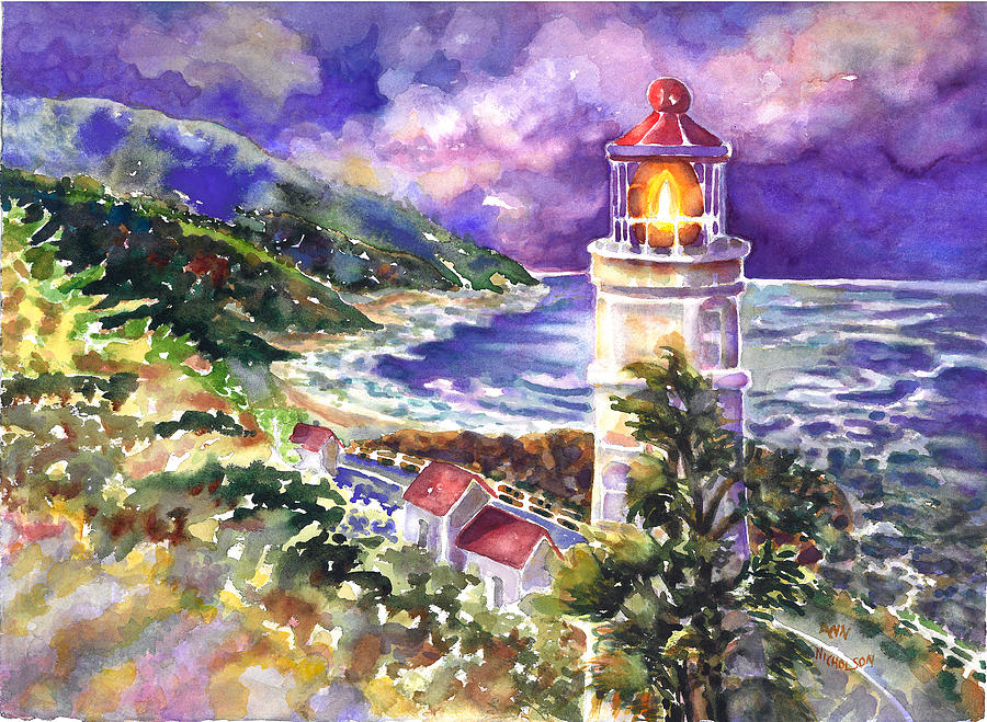 Lighthouse Painting - Heceta Head Lighthouse by Ann  Nicholson