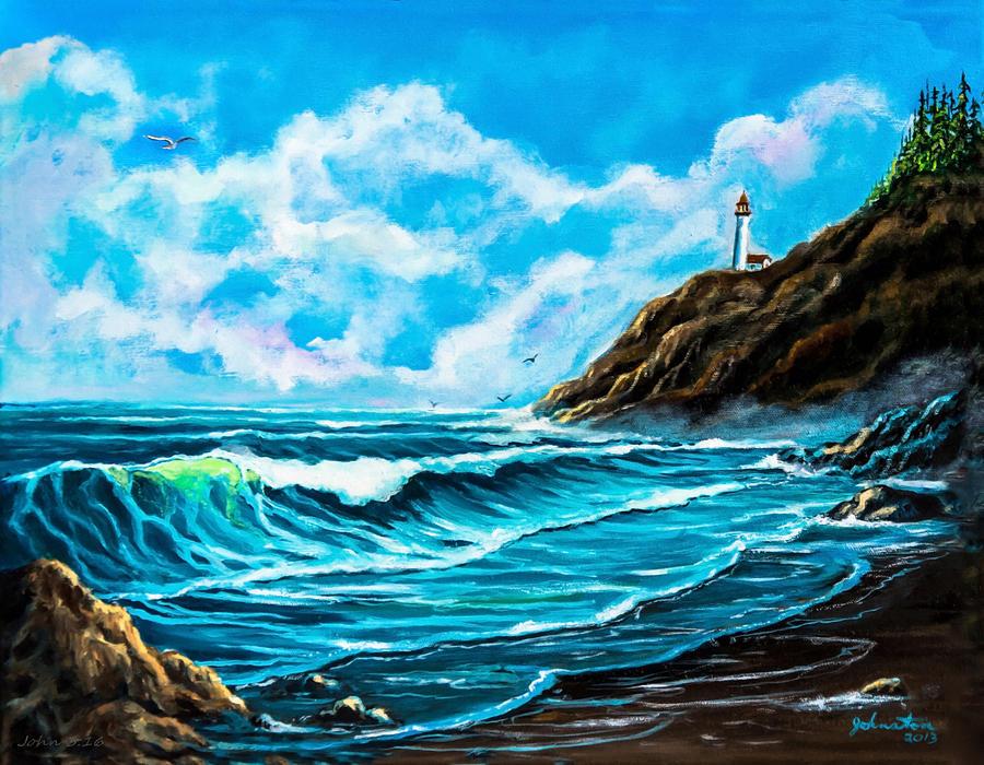 America Painting - Heceta Head Lighthouse Oregon Coast Original Painting Forsale by Bob and Nadine Johnston