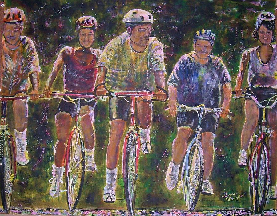 Bike Ride Painting - Heck On Wheels by Linda Vaughon
