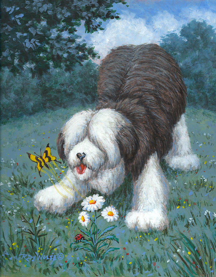 Old English Sheep Dog Painting - Hector Hassels A Butterfly by Richard De Wolfe