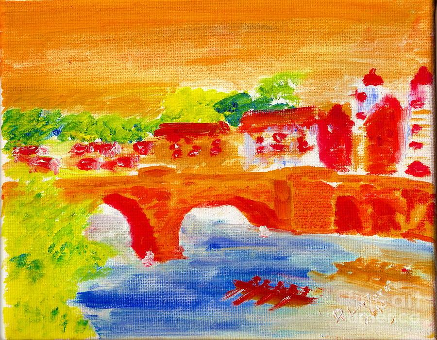 Heidelberg Painting - Heidelberg Old Bridge And Neckar River 1 by Richard W Linford