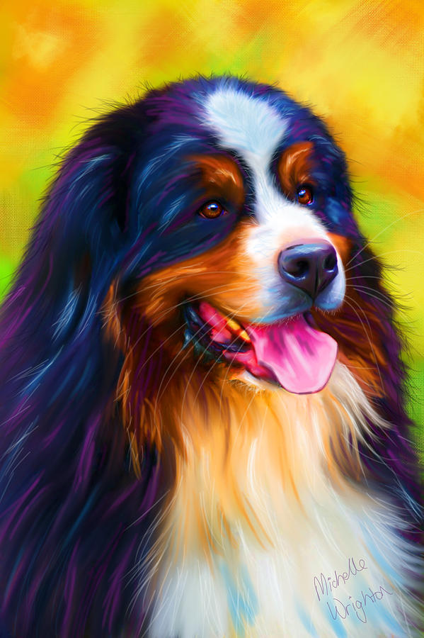 Bernese Mountain Dog Painting - Colorful Bernese Mountain Dog Painting by Michelle Wrighton