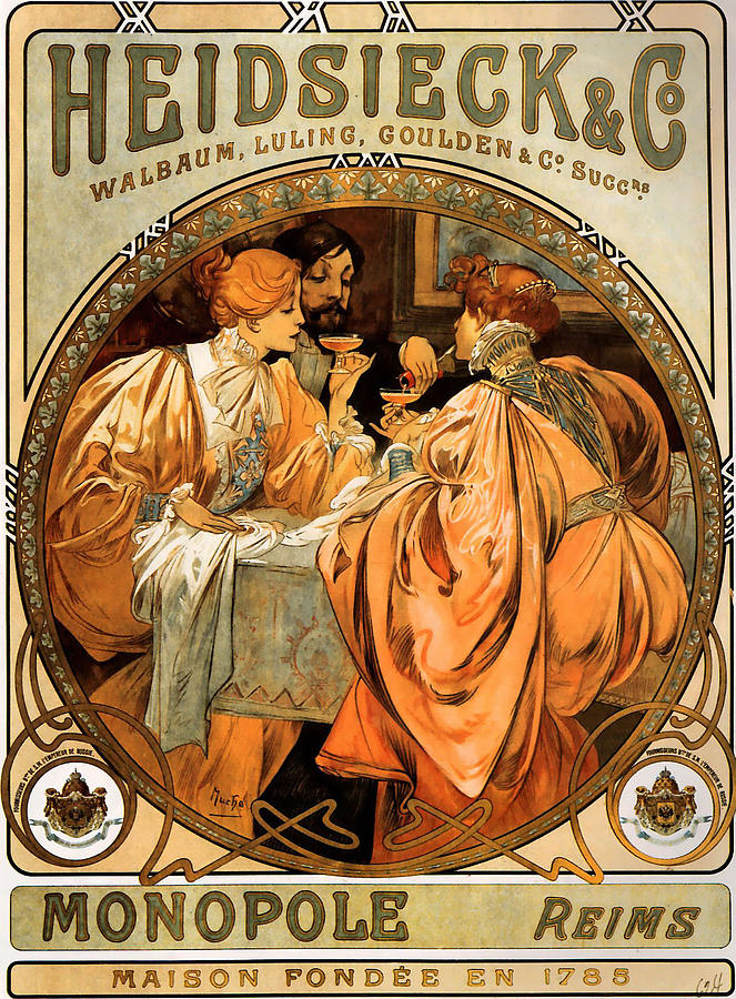 Mucha Painting - Heidsieck Champagne Poster Advert by Philip Ralley