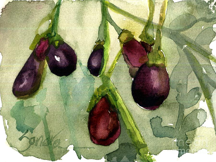 Eggplant Painting - Heirloom Eggplant by Sandra Stone