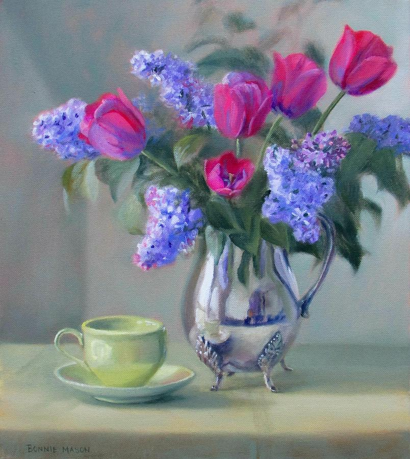 Bonnie Mason Painting - Heirlooms- Lilacs And Tulips In A Silver Pitcher by Bonnie Mason