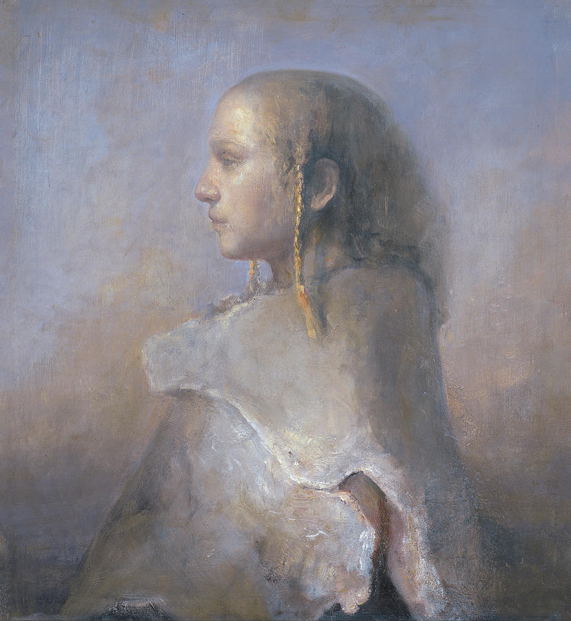 Oil Painting - Helene In Profile  by Odd Nerdrum