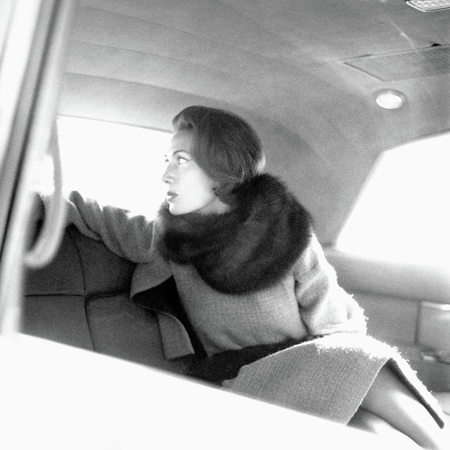 Helene Rochas Wearing Nina Ricci Photograph by Karen Radkai