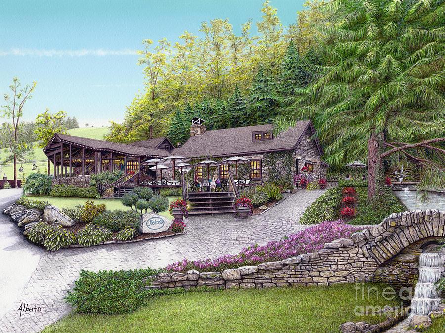 Seven Springs Painting - Helens Restaurant At Seven Springs by Albert Puskaric