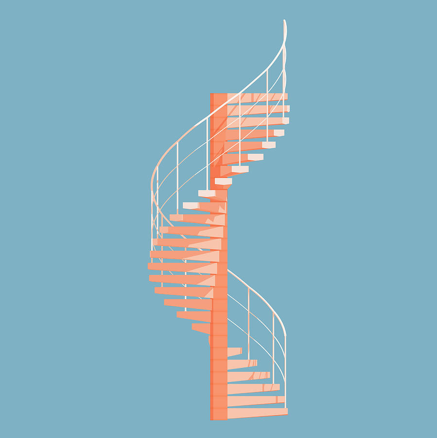 Architecture Digital Art - Helical Stairs by Peter Cassidy