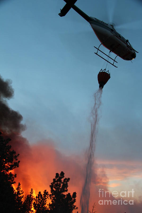 Fire Photograph - Helicopter drops water on White Draw Fire by Bill Gabbert