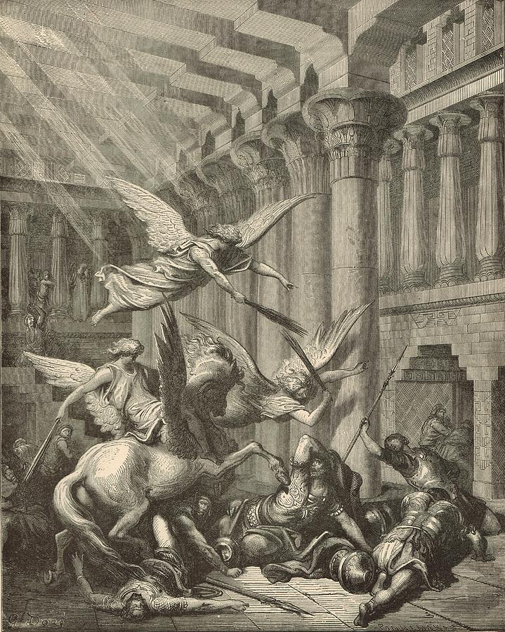 Biblical Drawing - Heliodorus Punished In The Temple by Antique Engravings