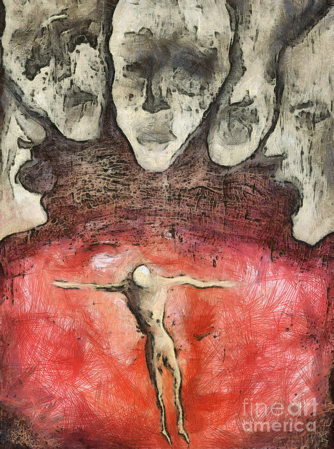 Crucifixion Mixed Media - Hell Are The Others by Michal Boubin