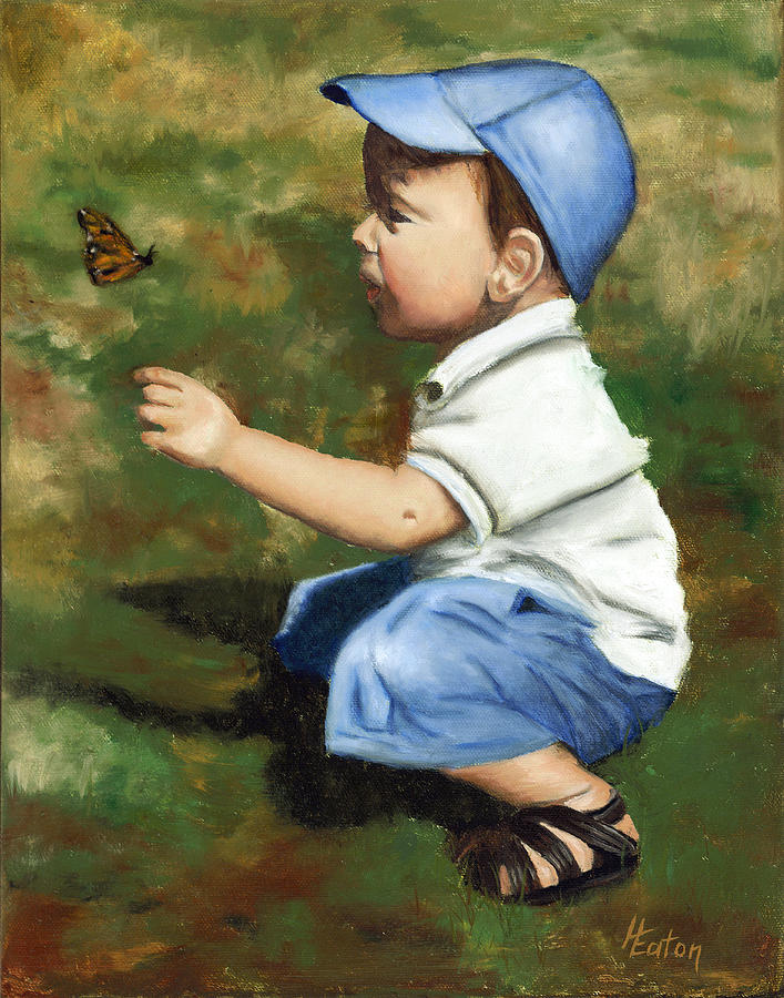 Blue Cap Painting - Hello Butterfly by Helen Eaton